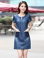 Women's Bodycon/Casual/Party Micro-elastic Short Sleeve Above Knee Regular Regular Dress (Denim)