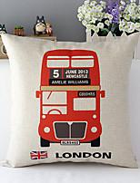 euro autobus de londres motifs coton / lin taie d'oreiller décoratif