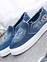Women's Shoes Canvas Flat Heel Creepers/Round Toe Fashion Sneakers/Loafers Office & Career/Casual Blue