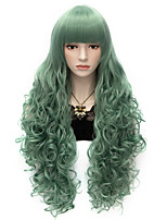 80cm Long Flat Bang Full  Green Curly heat resist Synthetic Cosplay Hair Party Wig