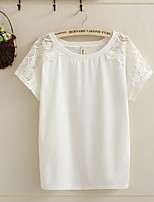 Women's White T-shirt , Round Neck Short Sleeve Hollow Out