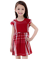 Summer Kids Girls College Style Short Sleeve Red Plaid A-line Casual Dresses (Cotton Blends)