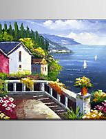 pintura a óleo abstrata decoração cena mediterrâneo mão lona esticada com emoldurado pintados