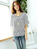Women's Striped White T-shirt , Round Neck Short Sleeve