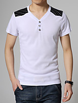 Men's Fashion Solid V Collar Slim Short Sleeved T-Shirt