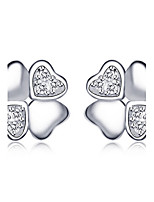 Jazlyn Authentic Platinum Plated 925 Sterling Silver Four Leaf Clover Engagement Wedding Lovers Stud Earrings