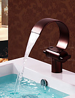 New Antique Design Basin Waterfall One Hole Double Handles Oil Rubbed Bronze Tap