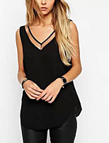 Women's Solid White/Black Blouse , Sexy Strap Sleeveless