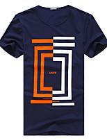 Herren Büro/Übergröße T-Shirt  -  Druck Kurz Baumwolle/Lycra/Polyester