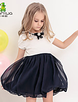 KAMIWA Girl's Summer Bowknot Lace Cotton Chiffon Patchwork Dresses Short Sleeve Skirts Kids Clothes Children Clothing