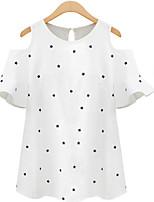 Women's Sexy Casual Plus Sizes Inelastic Short Sleeve Long Blouse (Cotton Linen)