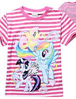 Girls t shirt Cartoon My Little Pony Cotton Summer Striped Short Sleeve Tee (Cotton)