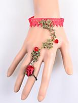 Vintage Vines Red Rose Bracelet With Ring