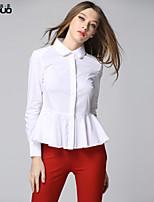 Women's Turn-down Collar Ruffled Bottom Elegant Cotton Long Sleeve White Shirt