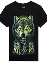 Men's Forest Wolf Printed With Graffiti 3D Cotton Tie-dyed T-shirts