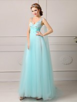 Formal Evening Dress A-line V-neck Floor-length Tulle Dress