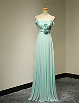 Formal Evening Dress - Pool A-line Strapless Floor-length Chiffon