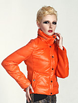 Women's Solid Brown/Orange Down Coat , Casual Stand Long Sleeve Button