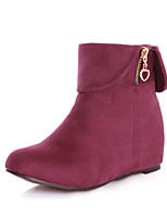 Women's Shoes Fleece Wedge Heel Wedges/Fashion Boots/Round Toe Boots Dress Black/Blue/Brown/Burgundy