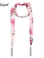 D Exceed  Women Light Pink Flowery Pattern Chiffon Scarves with Pendant Silver Tassel Scarf