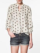 Women's Beige Blouse Long Sleeve