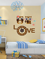 Modern Style DIY Lovely Cartoon Lovers Owl Mute Wall Clock