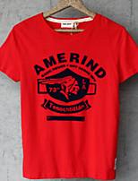 Men's Short Sleeve T-Shirt , Cotton/Polyester Casual/Plus Sizes Print