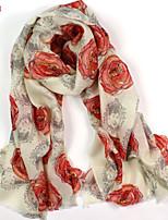Women's Fashion 100% Wool Flower Printed Scarf