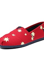 Women's Shoes Canvas Flat Heel Comfort Flats/Loafers Outdoor/Office & Career/Casual Blue/Red