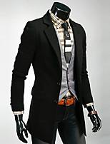 Men's Long Sleeve Long Coat , Others Pure