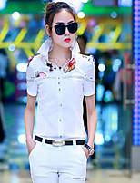 Women's Floral White Blouse Short Sleeve
