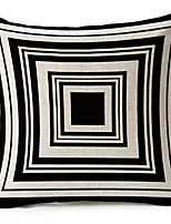Modern Style Geometric Patterned Black Cotton/Linen Decorative Pillow Cover