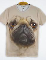 European Wind TEE Digital Printing 3D Harajuku Animal Pug Short Sleeved T-shirt