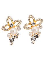 Women's Classic Elegant Zircon Flowers Pearl Stud Earrings HJ0066