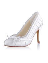 Women's Shoes Satin Stiletto Heel Heels/Round Toe Pumps/Heels Wedding/Party & Evening White/Beige