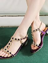 Chaussures Femme Cuir Gros Talon Confort Sandales Mariage/Décontracté/Soirée & Evénement Bleu/Violet/Argent