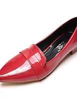 Women's Shoes Patent Leather Chunky Heel Pointed Toe/Closed Toe Flats Casual Black/Red/White