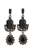 Women's Vintage Long Earrings Black Zircon Stud Earrings HJ0022