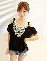 Women's Pink/Black/Beige T-shirt Short Sleeve