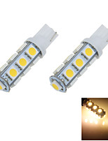 2X Warm White 3000K T10 W5W 13 SMD 5050 LED Car Clearance Lamp Side Light DC 12V A012
