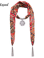 D Exceed  Ladies New Red Bohemian Style Printed Scarves  with Hollow Out Carve Flower Pendant Chiffon Scarves Necklace