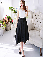 Women's Solid Black Skirts , Vintage/Casual/Cute/Party/Work Midi