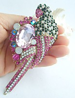 Women Accessories Gold-tone Multicolor Rhinestone Crystal Parrot Brooch Art Deco Women Jewelry