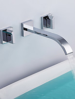 Shengbaier Contemporary Chrome Finish Brass Three Holes Two Handles Sink Faucet