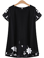Women's Black Blouse , Round Neck Short Sleeve Embroidery