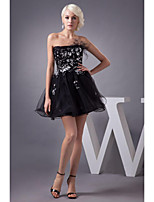 Homecoming Cocktail Party Dress A-line Strapless Knee-length Tulle Women Short Dresses