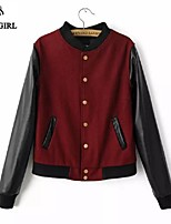 LIVAGIRL®Women's Jacket Fashion Stand Neck Long Sleeve PU Leather Joint Jacket Korean Style Preppy Style Winter Coat