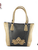 Handcee® Fashion Style Simple Flower Pattern Luxury Woman PU Tote Bag