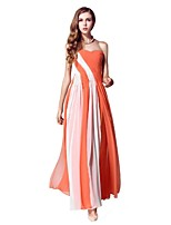 Formal Evening Dress - Orange A-line Strapless Floor-length Chiffon