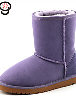 MG Women's Shoes Real Fur Twinface sheepskin Low Heel Snow Boots for Winter